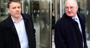 William McAteer (R) of Rathgar, Dublin, and Pat Whelan (L) of Malahide, Dublin, were found guilty earlier this month of providing unlawful loans to 10 property developers in July 2008 to buy shares in the bank, contrary to section 60 of the Companies Act.