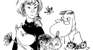 Self-portrait: Tove Jansson with her creations. © Moomin Characters™