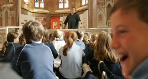 Nominated: Derek Landy, speaking to pupils in Rush, Co Dublin, as part of the Writers in Libraries scheme. Photograph: Alan Betson