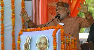 BJP leader Narendra Modi delivers a speech during an election rally yesterday in Palampur in northern India. Photograph: EPA/Sanjay Baid