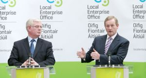 Eamon Gilmore and  Enda Kenny in Mullingar  at the official launch of the nationwide system of Local Enterprise Offices. Photograph: Laura Hutton/Photocall Ireland