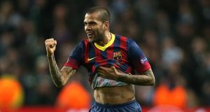 Barcelona's Dani Alves: has received huge support for his reaction to banana throwing incident, but says little has happened in Spanish football to tackle racism. Photorgraph:  Peter Byrne/PA Wire.