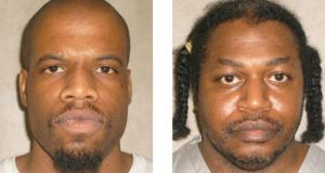 Image shows Clayton D. Lockett (L) who, along with inmate Charles F. Warner (R), were scheduled to be executed two hours apart for unrelated murders at the Oklahoma State Penitentiary in McAlester. Lockett died during a botched execution on Tuesday, minutes after a doctor had called a halt to the procedure. Photograph: EPA/ Oklahoma Department of Corrections handout