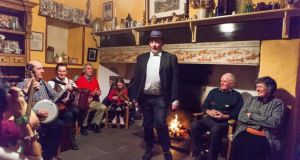 Paul Markham  dancing in the kitchen  in his home in the west Clare village of  Kilmurry McMahon. Photograph by Eamon Ward