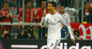 Real Madrid's Cristiano Ronaldo celebrates his second goal against Bayern Munich.