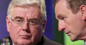 Tánaiste Eamon Gilmore and Taoiseach Enda Kenny. The Cabinet did not even discuss water charges at its meeting earlier today, Mr Kenny revealed in the Dáil this evening. Photograph: Stephen Collins/Collins Photos