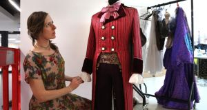 Niamh Lunny, Abbey Theatre head of costume, preparing a costume worn by Bob Acres played by Tom Vaughan Lawlor in The Rivals by  Sheridan. It forms part of the Performance Ireland 1904-2014 exhibition at NUI Galway. Photograph: Joe O'Shaughnessy.