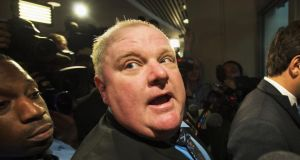 A file image of Toronto mayor Rob Ford who has  told a Canadian newspaper he will suspend his re-election campaign to get treatment for substance abuse. Photograph: Getty