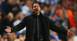 Atletico Madrid coach Diego Simeone  during the Uefa Champions League semi-final second leg match against Chelsea  at Stamford Bridge. Photograph:  Clive Rose/Getty Images