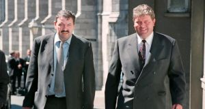 Michael and Thomas Bailey  arriving for a hearing of  the Flood Tribunal in 1999. Photograph: Alan Betson/The Irish Times