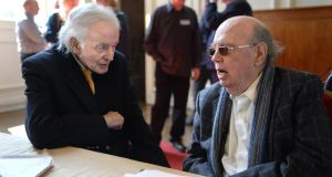 Ulick O'Connor and Anthony Cronin at the Aosdána general assembly at Royal Hospital Kilmainham on Tuesday. Photograph: Cyril Byrne