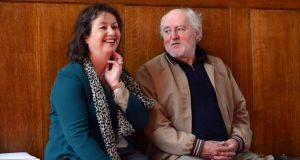 Anne Haverty and Brian Bourke at the Aosdána general assembly at Royal Hospital Kilmainham on Tuesday. Photograph: Cyril Byrne