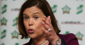 "Sinn Féin deputy leader Mary Lou McDonald: ""We are very, very unhappy at the timing of this, the choice of time, and we believe that it is politically motivated."" Photograph: Brian Lawless/PA"