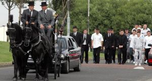 The funeral of Gary Douch in 2006. The 21-year-old was beaten to death in a communal cell in Mountjoy. Photograph: Collins