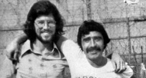 "Former IRA man Brendan ""The Dark"" Hughes, in Long Kesh prison with then best friend Gerry Adams. Photograph: Photopress"