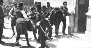 June 8th, 1914, Sarajevo: The arrest of Gavrilo Princip a 19-year-old Serbian nationalist, assassin of the Archduke Franz Ferdinand and his consort,  Photograph: Popperfoto/Getty Images