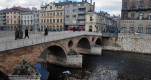 Sarajevo today: The Latin Bridge and the street corner where Serbian nationalist Gavrilo Princip assassinated Archduke Franz Ferdinand and his pregnant wife Sophia on June 28th, 1914.  Photograph: Elvis Barukcic/AFP