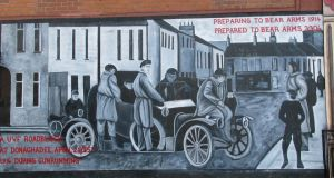 A wall mural commemorates a Donaghadee UVF road block at the time of the April 1914 Larrne gun-running when the UVF smuggled in 20,000 rifles from Austria-Hungary. Whether Berlin or Vienna had a hand in it remains unclear.