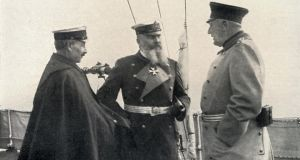 "Kaiser Wilhelm II, Emperor of Germany and King of Prussia,. Helmuth Von Moltke, German army chief of staff, and Admiral Alfred von Tirpitz on December 8th 1912, after news from London that Britain would not tolerate the crushing of France, Wilhelm met his top military, including both men. At what became known as ""the War Council"", Moltke argued in favour of war, ""the sooner the better"". Tirpitz argued ""the navy would prefer to see the postponement of the great fight for one and a half years"". (Photo by Universal History Archive/Getty Images)"