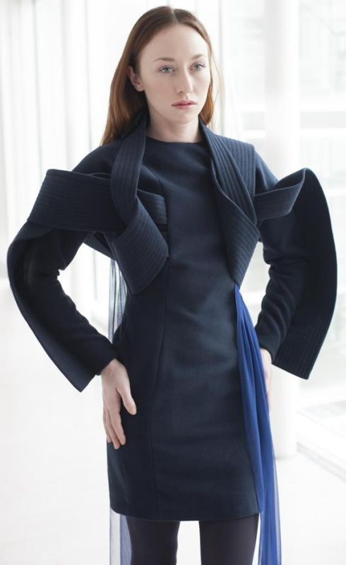 Colin Horgan: navy wool dress with blue silk chiffon detail