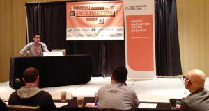Soundwave co-founder Brendan O'Driscoll pitching at SXSW in Austin, Texas.