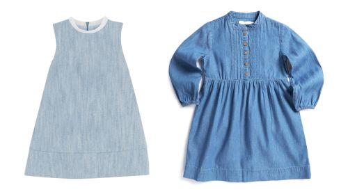 Blue dress, €39, COS Leigh Tucker Willow, Girls Denim Dress, €30, Dunnes Stores