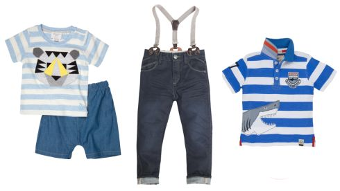 Blue stripe jersey tee, €26.50, chambray shorts, €24.50, Piquant Baby, Powerscourt Centre Jeans with braces, €39, Baker by Ted Baker Shark Rugger polo shirt, €32, Hatley at Arnotts