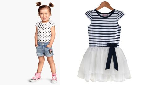 Denim shorts, €12.95, H&M. Navy and White Stripe Tutu Dress, €12, Heatons