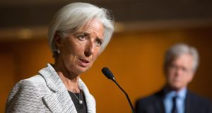 "International Monetary Fund managing director Christine Lagarde. A report on the Irish economy by the IMF  warned that ""significant economic challenges"" remain, particularly in relation to high unemployment, public debt and distressed loans. Photograph: Allison Shelley/Getty Images"