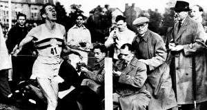 Roger Bannister after running the first sub-four minute mile.