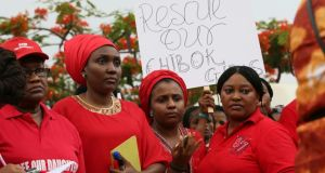 Members of civil society groups protest in Abuja  against the delay in securing the release of the abducted schoolgirls who were kidnapped more than two weeks ago. Photograph: Reuters/Afolabi Sotunde