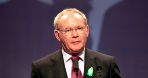 Deputy First Minister Martin McGuinness complained of 'political policing' against Sinn Féin. Photograph: Brenda Fitzsimons/The Irish Times