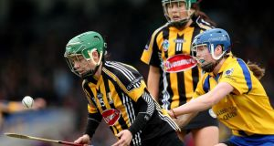 Kilkenny's Aoife Heary evades the challenge from Roisin McMahon of Clare during  the Camogie Division One League final at  Semple Stadium on Sunday. Photograph: James Crombie/Inpho