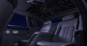 Rolls Royce Starlight headlining: unfortunately that's not an open sunroof but rather little star-like lights built into the roof lining