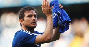 Frank Lampard of Chelsea acknowledges the crowd after the scoreless draw with   Norwich City at Stamford Bridge. Photograph:   Clive Rose/Getty Images