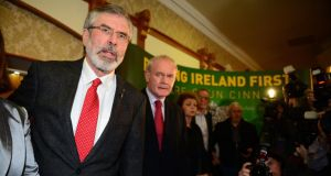 Sinn Féin leader Gerry Adams at a press conference in Belfast last night following his release from custody. He said much of the questioning centred on claims contained in the Boston College tapes. Photograph: Jeff J Mitchell/Getty Images