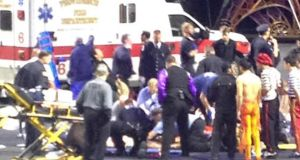 Emergency personnel attend to injured performers after a scaffolding collapsed during a Ringling Bros. and Barnum & Bailey Circus performance in Providence, Rhode Island, last night. Photograph: Reuters