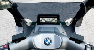 The TFT colour display screen on  BMW's C Evolution electric motorbike. Photograph: Peter Musch