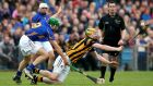 Tipperary's James Woodlock and Richie Power of Kilkenny at close quarters in the Allianz National Hurling League Division One Final. Photograph: James Crombie/Inpho