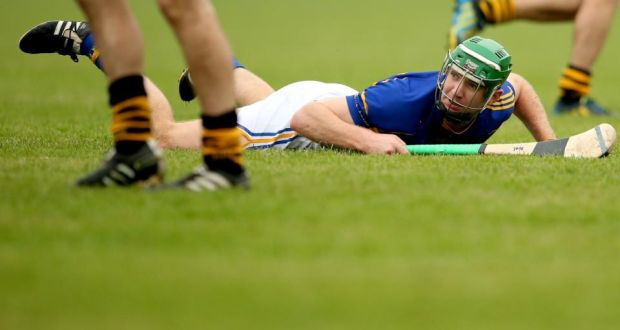 Tipperary's Noel McGrath watches as a shot goes wide in Sunday's league final against Kilkenny. Photograph: James Crombie/Inpho