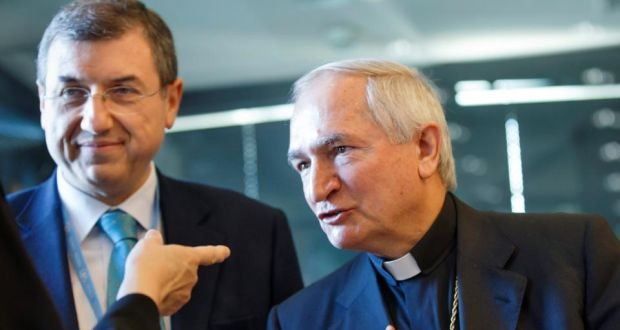 Archbishop Silvano Tomasi, (R), Apostolic Nuncio, Permanent Observer of the Holy See  to the Office of the United Nations in Geneva, and Vincenzo Buonomo, (L), of the Secretariat of State of the Holy See   prior to the UN torture committee hearing on the Vatican, at the headquarters of the office of the High Commissioner for Human Rights  in the Palais Wilson, in Geneva, Switzerland. Photograph:  Salvatore Di Nolfi/EPA