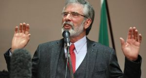Sinn Fein president Gerry Adams  delivers a speech at an election rally in Belfast. Photograph:  Reuters/Paul Hackett