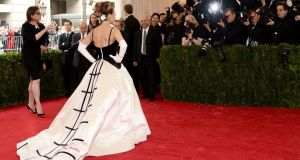 Sarah Jessica Parker hasn't had the best track record with Met Gala gowns, but her couture Oscar de la Renta gown (interestingly, signed by the designer in bold red letters on the skirt) is a valiant effort.Photograph: Getty Images