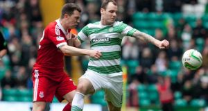 Celtic's Anthony Stokes (right)  has received support from his manager Neil Lennon. Photograph: Chris Clark/PA Wire.