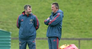 Munster coach Rob Penney (right): questioned the value for Irish rugby of Connacht signing major international stars. Photograph: Lorraine O'Sullivan/Inpho