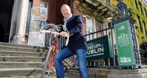 Stephen Roche, pictured with his bike from the 1979 Ras, his first ever Tour win, which he is loaning to the Little Museum of Dublin in advance of the Giro D'Italia, the first three stages of which will start in Belfast on Friday and finish in Dublin on Sunday. Photograph: Dave Meehan