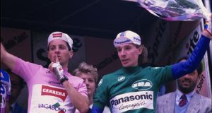 Stephen Roche on the podium in the final week of the 1987 Giro, accompanied by Scottish rider Robert Millar who lent his support to Roche against a swathe of Italians. Photograph: Graham Watson