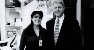 A photograph showing former White House intern Monica Lewinsky meeting President Bill Clinton at a White House function in the 1990s