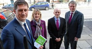 Green Party leader Eamon Ryan with other European election candidates Grace O'Sullivan, Ross Brown  and Mark Dearey at the launch of the Green Party's election manifesto in Dublin yesterday. Photograph: Eric Luke