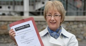 Mary Hanafin with her Fianna Fáil affiliation papers. Photograph: Cyril Byrne